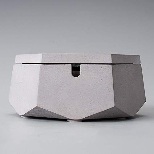 WPCBAA Europese cement asbak met deksel creatieve RVS liner asbak industriële wind thuis woonkamer salontafel decoratie