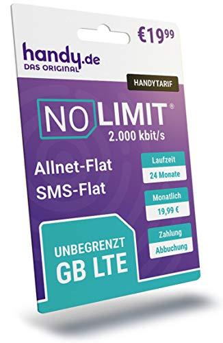 Handytarif NO Limit - Unbegrenztes LTE-Datenvolumen ohne Drosselung inklusive Flat Telefonie und Flat SMS, 24 Monate Vertragslaufzeit, Einfache Rufnummernmitnahme, Testsieger Preis-Leistung