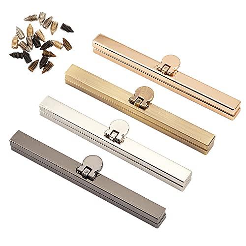 PandaHall 4 piezas de 4 colores 4.5 pulgadas marco de monedero recto, cierre de hierro para monedero, cierre de monedero, marco con cómodo agarre para bolsa de cuero DIY fabricación de manuali