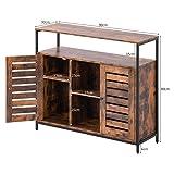 Aparador retro de madera maciza, con patas de metal, estilo vintage, con dos puertas, armario de cocina, armario industrial, marco de acero