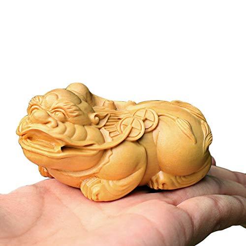 """LUYIYI Feng Shui Richesse Porsperity Pi Xiu/Pi Yao avec Cinq empereurs Argent Statue Petite Maison en Bois Décor, 1.6"""" Grand"""
