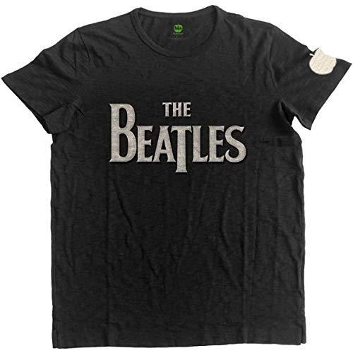 Rockoff The Beatles Drop T Logo Applique Slub T-Shirt, Nero (Black Black), Medium (Dimensioni Produttore:Medium) Uomo
