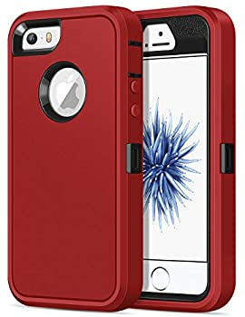 Jelanry iPhone 5S Case Heavy Duty Armor for iPhone 5 Dual Layer Protective Shell iPhone SE 2016 Case Shockproof Sports Rugged Phone Case Anti-Scratches Cover Non-Slip Bumper Hybrid Case Red