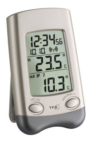 TFA Dostmann Wave Funk-Thermometer, Außentemperatur, Innentemperatur, Höchst- und Tiefstwerte, mit Uhrzeit, Wochentag, Datum