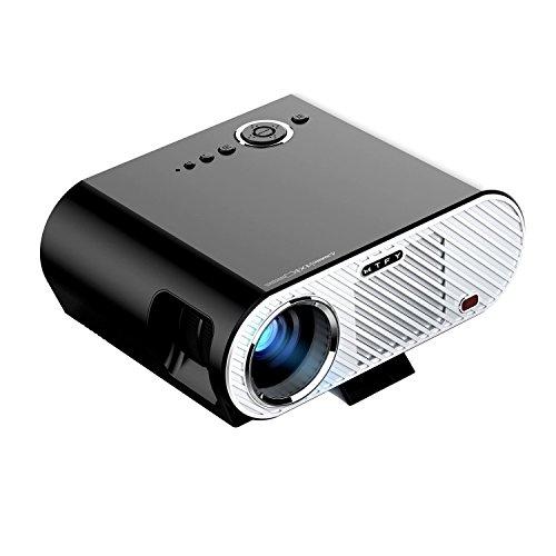 MTFY Portable 3000 Lumens LED Video Proyector Multimedia Player para Oficina Reunión Teatro en Casa Soporte de Película Smartphone/Laptop/TV Juego 1080p HD Negro