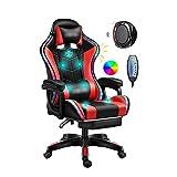 Sillas de juego de computadora Silla de masaje de oficina ergonómica,silla de juego,luz LED,silla de la computadora de carreras,reclinación y levantamiento de espalda,reposo de pie ajustable,altavoz B