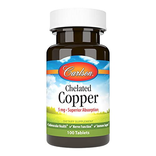 Carlson - Chelated Copper, 5 mg, Superior Absorption, Cardiovascular Health, Nerve Function & Immune Support, 100 Tablets