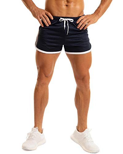 Ouber Mens Workout Bodybuilding Shorts 3' Inseam (A-Blue,M)