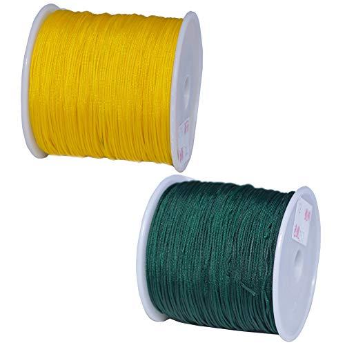 2 Rollos Hilo Cuerda, JPYH Hilo Encerado,0,8 mm, 90 m, Cuerdas de Hilo Encerado para Goyas, Pulseras, Tobilleras, Abalorios, Collares y Costura de Cuero