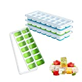 Ice Cube Tray with Lid, Easy-Release and Flexible 14-Ice Trays with Spill-Resistant Removable Lid, Silicone Ice Cube Mold for Whiskey, Cocktail, Beverages, 4 Pack of Ice Cube Maker (2 Blue & 2 Green)