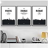 DLFALG París, Dubai, Roma, ciudad en blanco y negro, pintura en lienzo, carteles nórdicos e impresiones, imágenes artísticas de pared, sala de estar, decoración del hogar-40x50cmx3 sin marco