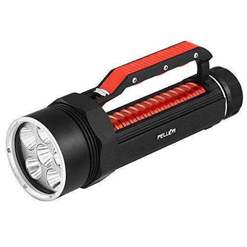 Pellor 6000 Lumen Bewegliche Berufsbergsteigen Camping Tauchen Taschenlampe 120M Tauchtiefe CREE XM-L T6 LED Diving Led Wasserdicht Tauchen Lampe Fackelzug (Schwarz-mit Akku und Ladegerät)