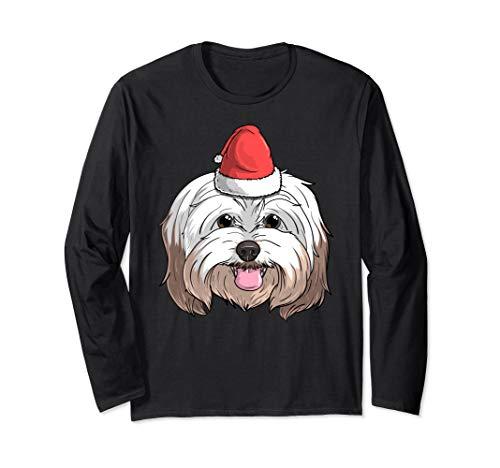 Havanese Dog Santa Claus Hat Christmas X-Mas Havaneser Hund Langarmshirt