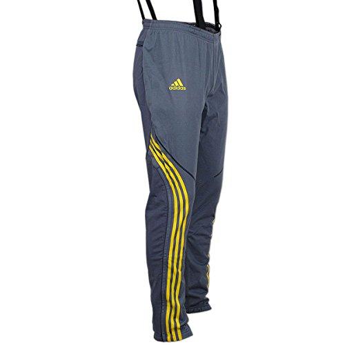 adidas Athleten Hose DSV Aufwärmhose Biathlon Langlauf (grau-gelb, D4 (46) S)
