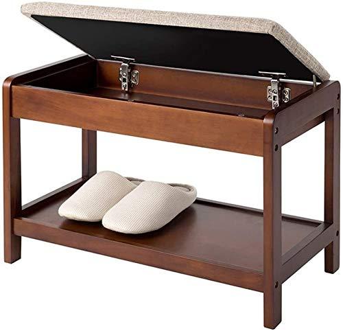Zapatero de madera sólida del zapato de heces con el amortiguador caja de almacenamiento de diseño for pasillos, dormitorios, salones zapato Gabinete de almacenamiento 60x30x42cm ( Color : Brown )