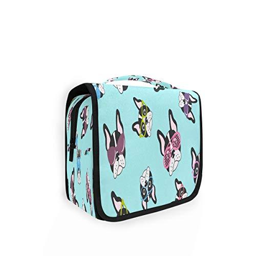 Kulturtasche zum Aufhängen Französische Bulldoggen mit Brille Organizer Kulturbeutel Kosmetiktasche Reisetasche mit 4 Fächern für Frauen