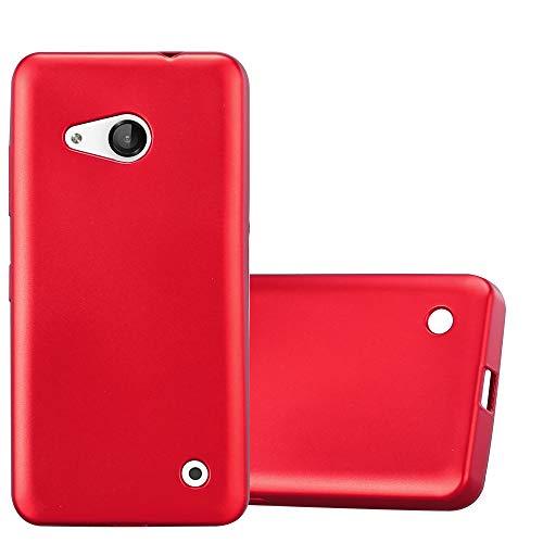 Cadorabo Hülle für Nokia Lumia 550 in METALLIC ROT - Handyhülle aus flexiblem TPU Silikon - Silikonhülle Schutzhülle Ultra Slim Soft Back Cover Hülle Bumper
