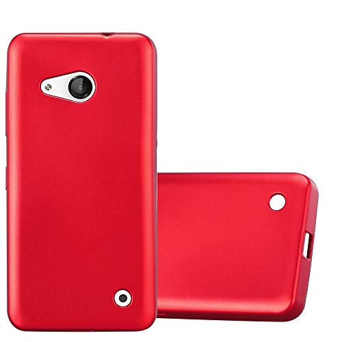 Cadorabo Hülle für Nokia Lumia 550 - Hülle in METALLIC ROT – Handyhülle aus TPU Silikon im Matt Metallic Design - Silikonhülle Schutzhülle Ultra Slim Soft Back Cover Case Bumper