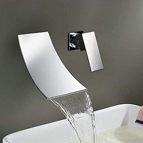 ZDZHT Mezclador de Lavabo de Pared con 2 Orificios, Cascada empotrada, Grifo de baño, Grifo Monomando, Grifo para Lavabo, Mezclador de baño para baño de latón Cromado