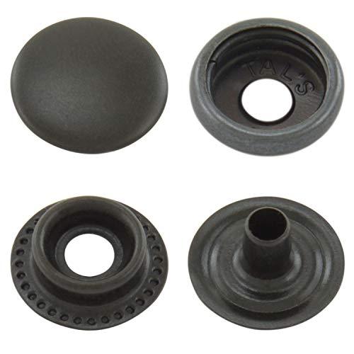 GETMORE Parts Druckknöpfe Ringfeder, Ring-Feder-Buttons, R-Feder-Snaps, Messing, rostfrei, vierteilig - ab 50 Stück, schwarz, 12,5 mm