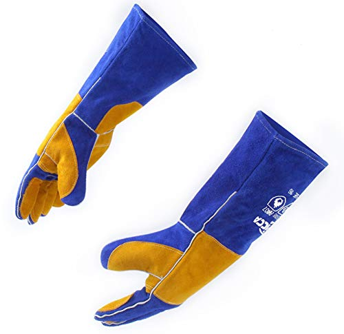 RAPICCA 16 Inches932℉ Leather Forge/Mig/Stick Welding Gloves Heat/Fire Resistant Mitts for Oven/Grill/Fireplace/Furnace/Stove/Pot Holder/Tig Welder/Mig/BBQ/Animal handling glove with 16 inches Extra Long Sleeve– Blue