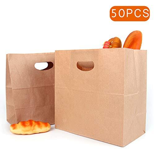 50 stuks cadeaupapieren zakjes pak kracht food bags verpakkingspapier broodlaib rugzak lunchzak duurzame kraftpapieren zakken, snackzakken, broodtassen, takeout-zak, gerecycled kraftpapier