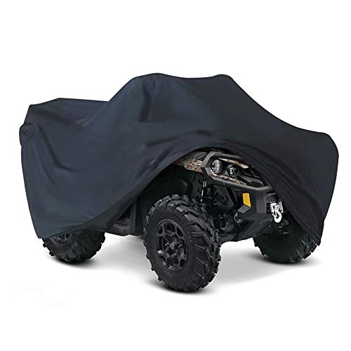 LotFancy ATV Cover All Weather Waterproof, 300D Heavy Duty Black Quad Cover Protects from Snow Rain Sun, Outdoor 4 Wheeler Cover Fits for Kawasaki Polaris Suzuki (S 76x45x33 inches)