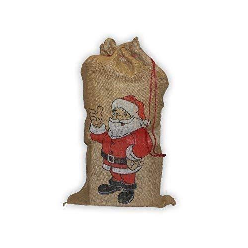 Lively Moments Sac Père Noel /Sac-Cadeau / Sac à Cadeau en Jute / Sac en Toile de Jute avec Père Noël - Écusson / Noël