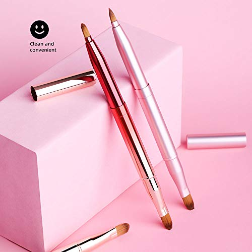 Jieqiong Voyage cosmétique de Brosse Portant des Outils télescopiques de Maquillage Une Brosse de Maquillage de débutant,Rose