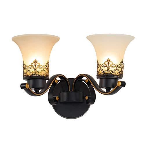 Lámpara De Luz De Baño De 2 Ligeras Iluminación De La Pared De La Pared, Con Lámpara De Cristal Luz De La Granja Negra Para La Cocina De La Sala De Estar De La Cocina Lámpara De Pared