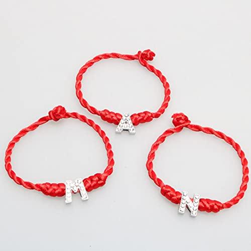 CXWK 1 Unidad de 26 Letras, Hilo Rojo, Pulseras con Letras, Encanto de Cuerda roja, Pulsera de la Suerte para Mujer, joyería Aolly, Regalo para Pareja