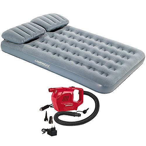 Kit colchon Aire Hinchable Doble con Almohada Smart Quickbed Single Campingaz + Inflador Recargable 12V-230V Coleman