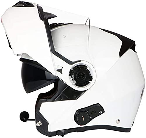 Bluetooth Flip Up Cascos de motocicletas, viseras de doble cara Cascos modulares Motorbike modular Micrófono de auricular de altavoz incorporado para responder automáticamente Certificación ECE L = 58