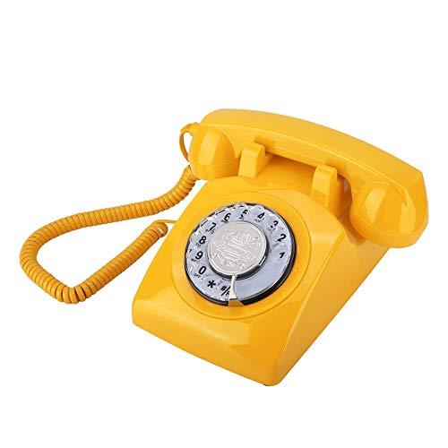 Serounder Retro Rotary Dial Telephone, Vintage Antique Landline Telephone Desk Corded Telephones for Home Office Hotel(Yellow)