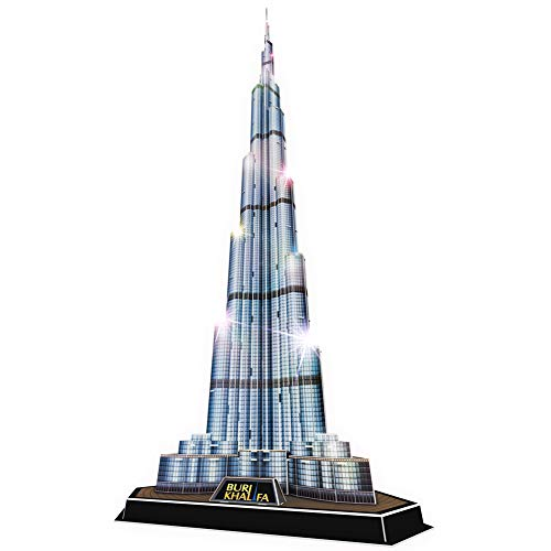 CubicFun 3D Puzzle LED Dubai Burj Khalifa Modell mit Lichtarchitektur Geschenk für Kinder und Erwachsene, 136 Stück