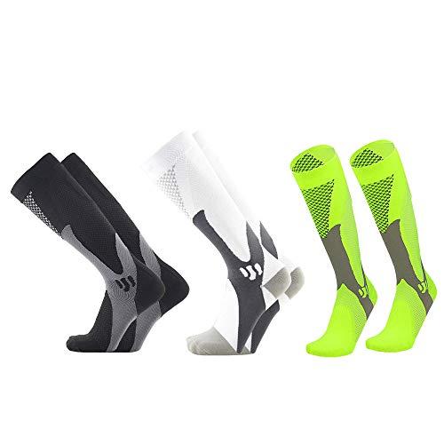 Yialia Calcetines de compresión Calcetines de Rendimiento de enfermería Calcetines Deportivos para Hombres Mujeres Ciclismo Correr Fútbol Paquete de 3 Pares Antideslizante