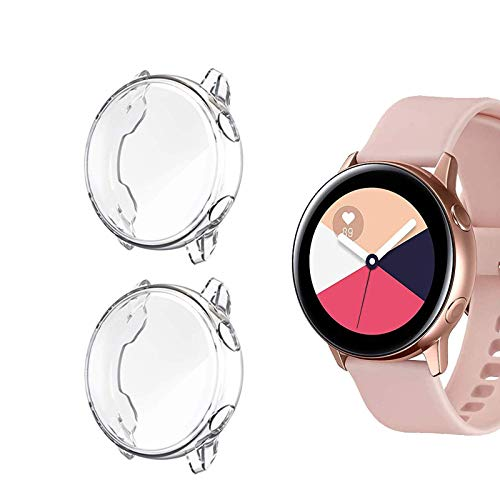 KPYJA for Samsung Galaxy Watch Active 1 Screen Protector, All-Around TPU Anti-Scratch Flexible Case Soft Protective Bumper Cover for Galaxy Watch Active 40mm Smartwatch (Clear/Clear)