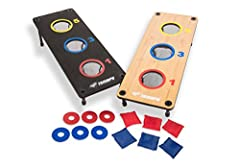 """Two sturdy, classic outdoor lawn games are combined for an incredible value: 3 -hole bean bag toss or 3-hole washer toss Includes two 26"""" L x 10"""" W game platforms featuring on-board scoring, with detachable legs for support Multi-colored target areas..."""