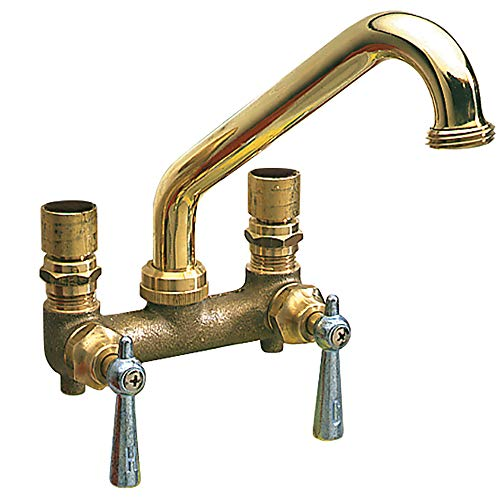 PlumbCraft Two Handle Standard Utility Faucet, Polished Brass, Wall or Sink Mount