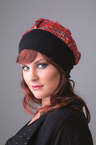 NJ Creatie Turban Cambon rode wol tegel haarband zwart