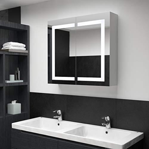 Tidyard Spiegelschrank Bad mit Beleuchtung Badspiegelschrank mit Ablage Badschrank mit Spiegel Wandspiegel Wandschrank Badezimmerspiegel Hängeschrank, Weiß 80x12,2x68 cm