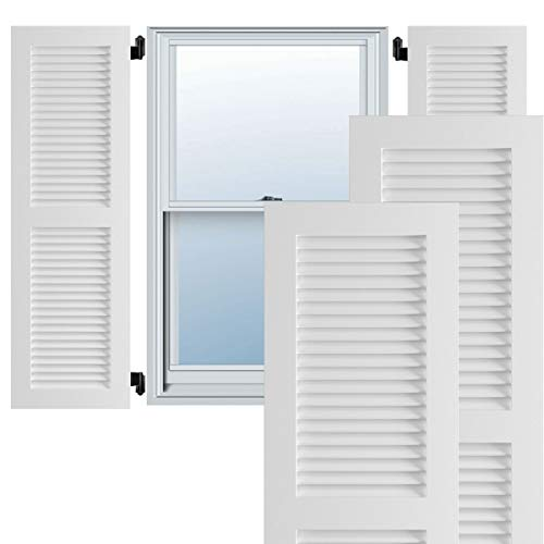 EKENA MILLWORK TFP101LVF15X068UN True Fit PVC Two Equal Louver Shutters (Per Pair - Hardware Not Included), 15