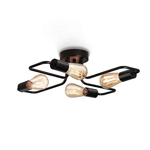 ENCOFT 4 Lampe E27 Lumières Plafonnier Lutres Luminaire en Metal, Éclairage Lampe de Plafond Industriel Vintage pour Chambre Cuisine Salon Bar Café, Noir Sans Ampoule