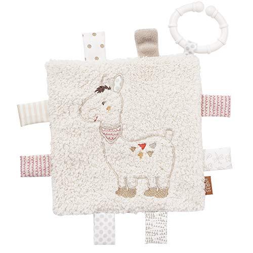 Fehn 058178 Knistertuch Lama mit Ring – Activity-Rascheltuch zum Aufhängen – Für Babys und Kleinkinder ab 0+ Monaten – Maße: 16 x 16 cm