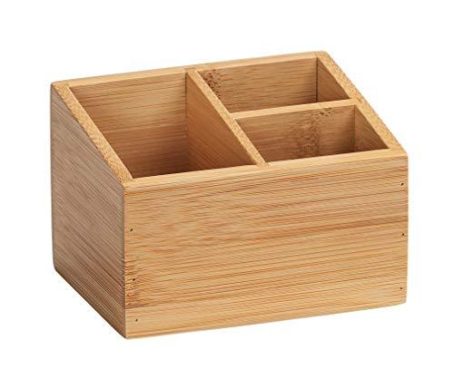 WENKO Bambus Organizer Terra 3 Fächer - Aufbewahrungsbox, Badkorb, Bambus, 12 x 8.5 x 9 cm, natur