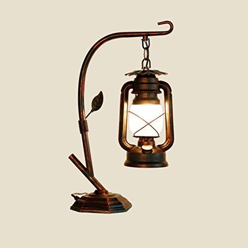Lámparas de mesa y mesilla de noche American Industrial Retro Style Hierro pasado de moda Lámpara de escritorio Bar Cafe Restaurante Lámpara de linterna de queroseno Living Room Bedside Lámpara de lec