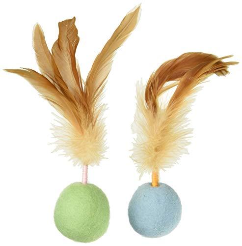 SmartyKat Felty Fun Set of 2 Wool Felt & Feather Balls Cat Toys, Small