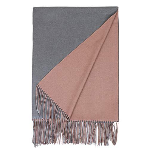 PB-SOAR Damen XXL Zweifarbiger Schal für Winter, Schals Winterschal Damenschal Halstuch Pashmina Stola mit Fransen (Altrosa/Dunkelgrau)