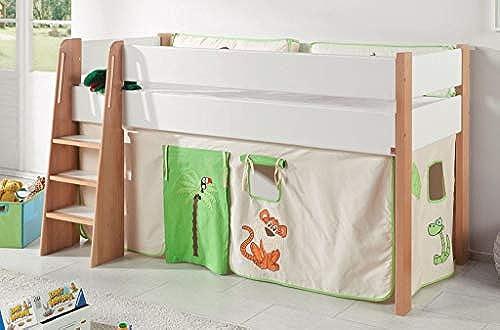 Froschk g24 Hochbett SAM 1 Kinderbett Spielbett halbhohes Bett Buche WeißStoff Dschungel, Matratze mit