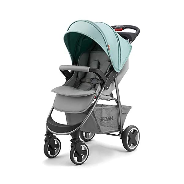 JINGQI Lightweight Folding Stroller Baby Stroller Children Can Sit And Recline Baby Portable Shock-Absorbing Trolley,Applicable Age 0-3 Years Old,Green JINGQI High-quality design: built-in shock absorber spring, flexible universal wheel, 360 degree rotation, PU wear-resistant shock-absorbing tires, five-point safety belt, detachable armrest, large storage basket, temporary storage rack Spacious seat, suitable for babies from 0 to 3 years old, sitting and lying freely, comfortable travel, cockpit and pedals can be adjusted Full sunshade, shelter children from wind and rain, and accompany them to travel safely 1